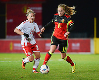 20161128 - TUBIZE ,  BELGIUM : Belgian Janice Cayman (R) and Danish Nanna Christiansen (L)  pictured during the female soccer game between the Belgian Red Flames and Denmark , a friendly game before the European Championship in The Netherlands 2017  , Monday 28 th November 2016 at Stade Leburton in Tubize , Belgium. PHOTO SPORTPIX.BE | DIRK VUYLSTEKE