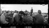 "Richard Buckminster ""Bucky"" Fuller lecturing outside under a tree,  Southern Illinois University, Carbondale 1971. 35mm panoramic photographs by Larence N. Shustak."