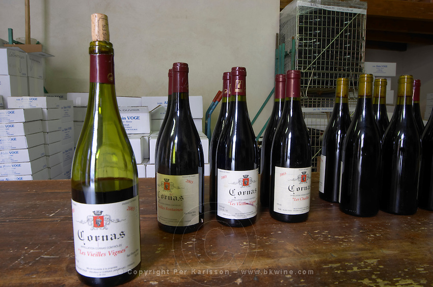 cornas vieilles vignes for tasting in the cellar dom a voge cornas rhone france