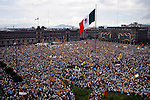 MEXICO DF. SEPTEMBER 16, 2006. INDEPENDENCE DAY. THIS YEAR TOOK PLACE AT THE CONSTITUTION SQUARE (ZOCALO), THE NATIONAL DEMOCRATIC CONVENTION, WHERE MORE THAN ONE MILLION DELEGATES FROM ALL OVER THE COUNTRY DECLARED - AMONG OTHER RESOLUTIONS-, ANDRES MANUEL LOPEZ OBRADOR LEGITIMATE PRESIDENT OF MEXICO. THEY RAISED THEIR HANDS TO VOTE DIFFERENT PROPOSALS.