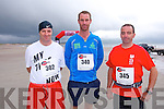 Aidan O'Connor, John Flynn and Alan Kelliher at the The Brandon Bay half marathon and 10k run, Ireland's first and only running event entirely run on a beach,  in the Maharees, Castlegregory,  on Saturday