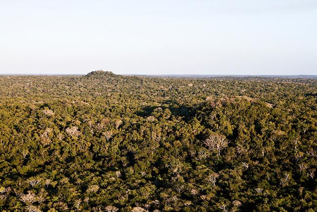 """Overflight over Mayan Biosphere Reserve, View on Temple complex """"El Tigre""""(front) and La Danta pyramid, El Mirador(back)."""