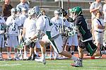 La Canada Flintridge, CA 03/16/13 - Trent Schulte (Coronado #6) and Kyle Rodney (De La Salle #29) in action during the De La Salle vs Coronado lacrosse game at St Francis High School.  De La Salle defeated Coronado 8-5.