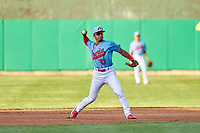 Peoria Chiefs shortstop Edwin Figueroa (13) during a Midwest League game against the Bowling Green Hot Rods at Dozer Park on May 5, 2019 in Peoria, Illinois. Peoria defeated Bowling Green 11-3. (Zachary Lucy/Four Seam Images)