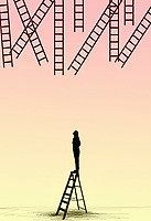 Woman looking up at ladders out of reach