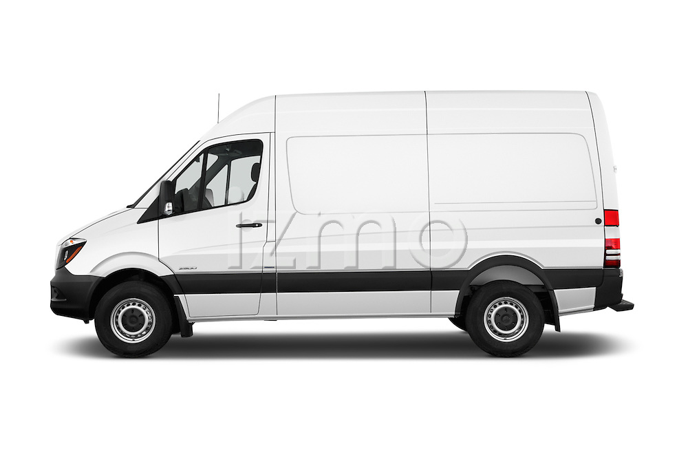 Car Driver side profile view of a 2016 Mercedes Benz Sprinter 2500-144-WB-High-Roof 4 Door Cargo Van Side View
