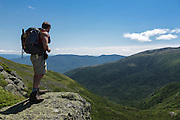 Appalachian Trail - A hiker looks into the Great Gulf Wilderness from the Gulfside Trail in the White Mountains, New Hampshire USA during the summer months.