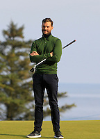 Jamie Dornan (AM) on the 11th green during Round 3 of the 2015 Alfred Dunhill Links Championship at Kingsbarns in Scotland on 3/10/15.<br /> Picture: Thos Caffrey | Golffile