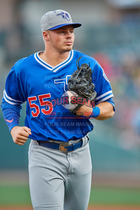 Gavin Lux (55) of the Oklahoma City Dodgers between innings during the game against the Salt Lake Bees at Smith's Ballpark on July 31, 2019 in Salt Lake City, Utah. The Dodgers defeated the Bees 5-3. (Stephen Smith/Four Seam Images)