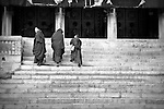 Monk boys on the main steps to the temple at Drakar Tredzong monestary in Qing Hai...Two hours later we were quickly escorted from the region for no reason.  Welcome to China...Brian Hirschy Photograph :  Lights//Camera//Joy.www.brianhirschy.com ( http://www.brianhirschy.com )