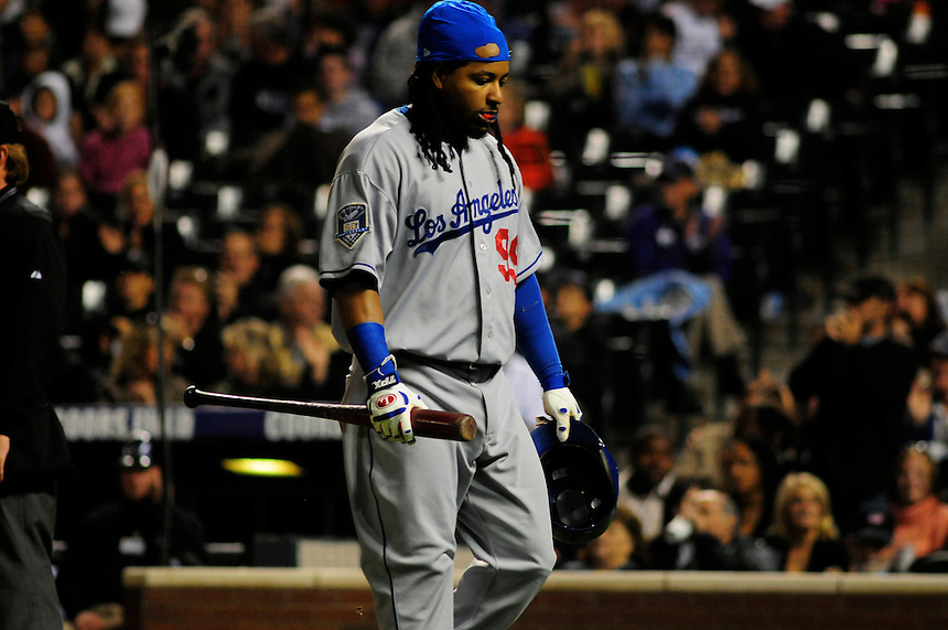 12 September 2008: Los Angeles Dodgers outfielder Manny Ramirez is dejected after striking out agains the Colorado Rockies. The Dodgers defeated the Rockies 7-2 at Coors Field in Denver, Colorado. FOR EDITORIAL USE ONLY