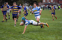 Action from the Wellington under-15 college rugby semifinal match between St Pat's College Silverstream and St Bernard's College at Silverstream College in Upper Hutt, New Zealand on Saturday, 4 August 2018. Photo: Dave Lintott / lintottphoto.co.nz