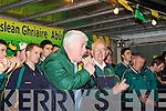 EMOTIONAL: Chairman of Castlegregory team Mossie Spillane giving an emotional speech at the teams homecoming on Monday evening.