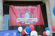 September 13, 2011 (Washington, DC)   A Kastles banner hangs at the District Building. Washington DC Mayor Vincent Gray recognized the Washington Kastles and owner Mark Ein at a press conference on Wednesday! Mayor Gray congratulated the team on its perfect 16-0 season, the first in WTT history, its second championship in three seasons as well as the team's contributions to the community of the city.  (Photo by Don Baxter/Media Images International)