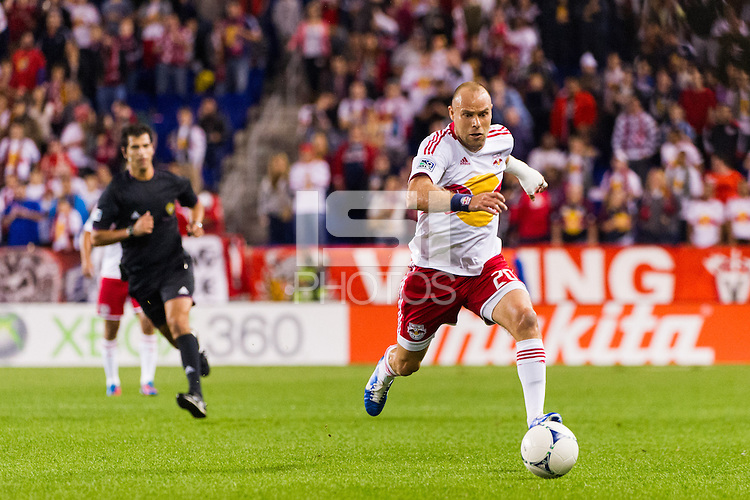 Joel Lindpere (20) of the New York Red Bulls. The New York Red Bulls defeated Toronto FC 4-1 during a Major League Soccer (MLS) match at Red Bull Arena in Harrison, NJ, on September 29, 2012.