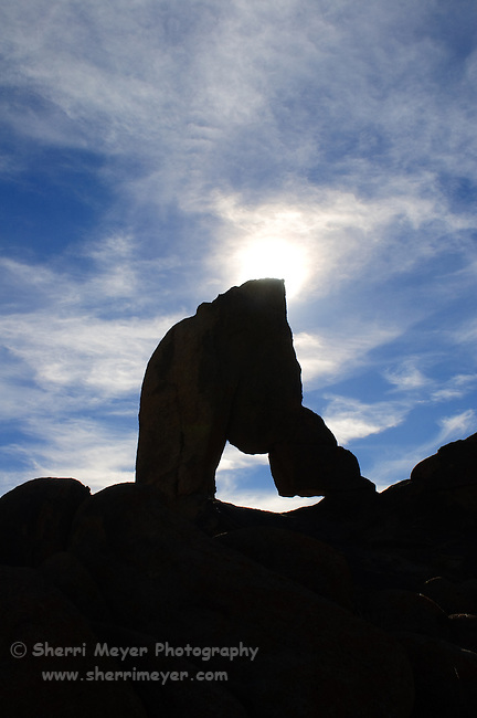 Silhouette of an arch in the Alabama Hills, Lone Pine, California