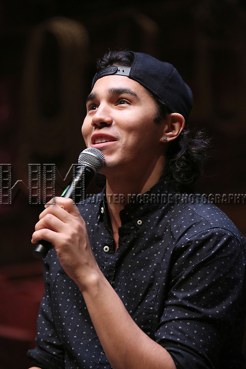 """Anthony Lee Medina during The Rockefeller Foundation and The Gilder Lehrman Institute of American History sponsored High School student #EduHam Q & A  before matinee performance of  """"Hamilton"""" at the Richard Rodgers Theatre on 3/29/2017 in New York City."""