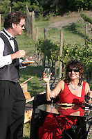 Thiese wine lovers enjoy a summer day at Karma Vineyards in the Lake Chelan Valley.