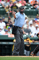 Umpire Seth Buckminster during a spring training game between the Boston Red Sox and Baltimore Orioles on March 23, 2014 at Ed Smith Stadium in Sarasota, Florida.  (Mike Janes/Four Seam Images)