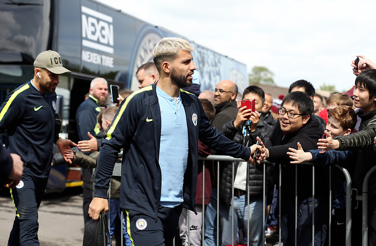 Manchester City's Sergio Aguero greets the waiting fans as he arrives at Turf Moor ahead of kick-off at Turf Moor<br /> <br /> Photographer Rich Linley/CameraSport<br /> <br /> The Premier League - Burnley v Manchester City - Sunday 28th April 2019 - Turf Moor - Burnley<br /> <br /> World Copyright © 2019 CameraSport. All rights reserved. 43 Linden Ave. Countesthorpe. Leicester. England. LE8 5PG - Tel: +44 (0) 116 277 4147 - admin@camerasport.com - www.camerasport.com