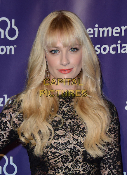 "Beth Behrs.21st Annual ""A Night At Sardi's"" Gala Benefiting The Alzheimer's Association Held At Beverly Hilton Hotel, Beverly Hills, California, USA, 20th March 2013..portrait headshot fringe red lipstick beauty make-up black lace .CAP/ADM/KB.©Kevan Brooks/AdMedia/Capital Pictures."