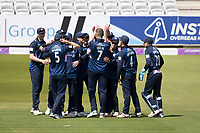 The Middlesex players celebrate the early wicket of Livingstone during Middlesex vs Lancashire, Royal London One-Day Cup Cricket at Lord's Cricket Ground on 10th May 2019