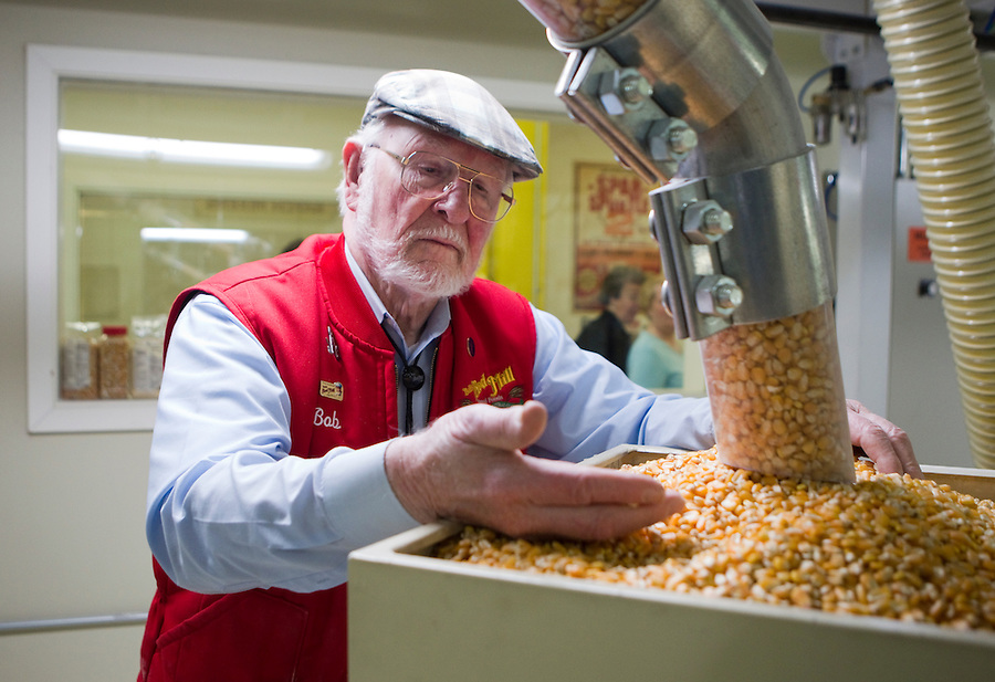 Bob Moore, of Bob's Red Mill and Natural Foods inspects production at his gluten-free mill, which has 13 mills in production making gluten-free products in Milwaukie, Oregon Tuesday, April  8, 2014. Bob's Red Mill has built a separate Gluten Free packaging division complete with specialized machinery to make sure that  their products maintain their purity. The U.S. market for gluten-free foods will climb from $4.2 billion in 2012 to $6.6 billion by 2017, according to researcher Packaged Facts, as bread bakers, craft-beer makers and eateries embrace the trend. (Photo by Natalie Behring/ Bloomberg News)