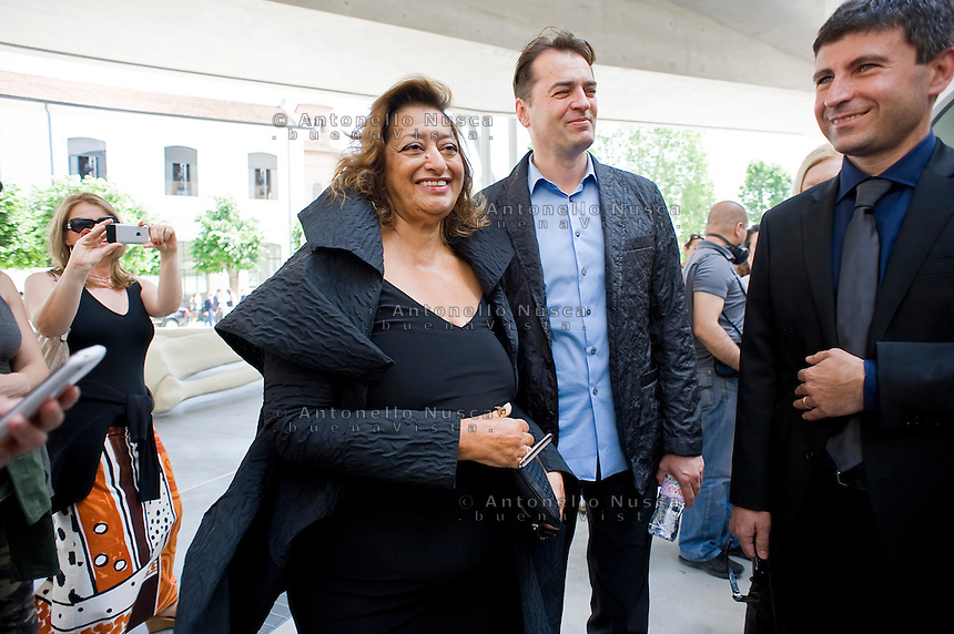 Iraqi-born architect Zaha Hadid during the inauguration of the MAXXI museum she designed. .