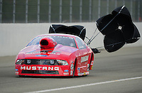 Feb. 11, 2012; Pomona, CA, USA; NHRA pro stock driver Grace Howell during qualifying for the Winternationals at Auto Club Raceway at Pomona. Mandatory Credit: Mark J. Rebilas-