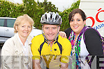 Mary Anne Breen, Mark Collins and Roseleen Higgins at the charity cycle in Castleisland on Sunday morning