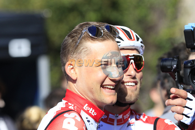 Tim Wellens (BEL) Lotto-Soudal at sign on in Fortezza Medicea before the start of Strade Bianche 2019 running 184km from Siena to Siena, held over the white gravel roads of Tuscany, Italy. 9th March 2019.<br /> Picture: Eoin Clarke | Cyclefile<br /> <br /> <br /> All photos usage must carry mandatory copyright credit (© Cyclefile | Eoin Clarke)