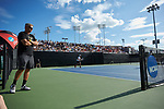 Wake Forest Demon Deacons head coach Tony Bresky (left) watches the action at #2 doubles against the Ohio State Buckeyes during the 2018 NCAA Men's Tennis Championship at the Wake Forest Tennis Center on May 22, 2018 in Winston-Salem, North Carolina. (Brian Westerholt/Sports On Film)