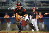 Batavia Muckdogs catcher Jarett Rindfleisch (44) waits for a throw during a game against the Williamsport Crosscutters on September 2, 2016 at Dwyer Stadium in Batavia, New York.  Williamsport defeated Batavia 9-1. (Mike Janes/Four Seam Images)