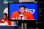 Wisconsin Badgers forward Nigel Hayes (1) talks to the media after  a regional semifinal NCAA college basketball tournament game against the Baylor Bears Thursday, March 27, 2014 in Anaheim, California. The Badgers won 69-52. (Photo by David Stluka)