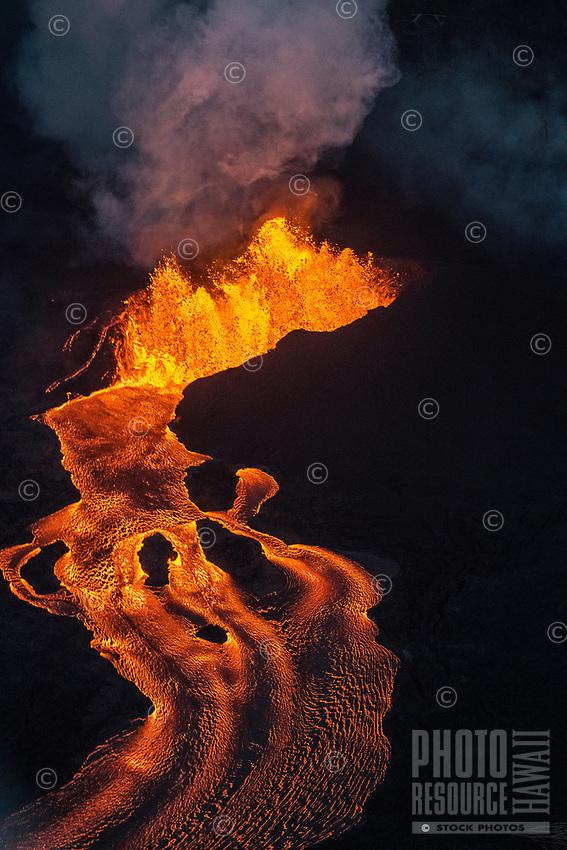 June 2018: Kilauea Volcano eruption, Leilani Estates, Puna, Big Island of Hawai'i.