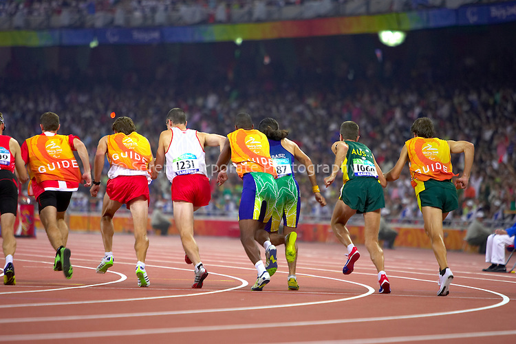 Australia's Gerrard Gosens finishes sixth in the men's T11 1500m final at the Beijing Paralympic Games, 2008