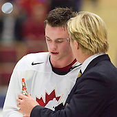 Jonathan Toews (Winnipeg, MB - University of North Dakota Fighting Sioux) was named a Media All-Star and best player of the gold medal game for Canada. Team Canada (gold), Team Russia (silver) and Team USA line up for the individual awards and team medal presentations following Team Canada's 4-2 victory over Team Russia to win the gold in the 2007 World Championship on Friday, January 5, 2007 at Ejendals Arena in Leksand, Sweden.