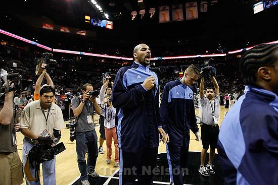 Utah Jazz forward Carlos Boozer (5) photographers, robert johnson. San Antonio - Utah Jazz vs. San Antonio Spurs, NBA basketball, Western Conference Finals Game One..5.20.2007