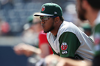 Fort Wayne TinCaps pitcher Emmanuel Ramirez (30) watches from the dugout against the West Michigan Michigan Whitecaps during the Midwest League baseball game on April 26, 2017 at Fifth Third Ballpark in Comstock Park, Michigan. West Michigan defeated Fort Wayne 8-2. (Andrew Woolley/Four Seam Images)