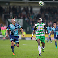 Garry Thompson of Wycombe Wanderers and Nathan Smith of Yeovil Town during the Sky Bet League 2 match between Yeovil Town and Wycombe Wanderers at Huish Park, Yeovil, England on 8 October 2016. Photo by Mark  Hawkins / PRiME Media Images.