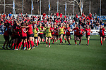 KANSAS CITY, MO - DECEMBER 02: Teammates rush Ana Dilkes (1) of the University of Central Missouri after blocking a penalty kick to defeat Carson-Newman University and win the Division II Women's Soccer Championship held at the Swope Soccer Village on December 2, 2017 in Kansas City, Missouri. (Photo by Doug Stroud/NCAA Photos/NCAA Photos via Getty Images)