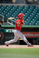 Palm Beach Cardinals left fielder Scott Hurst (7) follows through on a swing during a game against the Jupiter Hammerheads on August 5, 2018 at Roger Dean Chevrolet Stadium in Jupiter, Florida.  Jupiter defeated Palm Beach 3-0.  (Mike Janes/Four Seam Images)