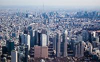 Tokyo`s Shinjuku from the air.