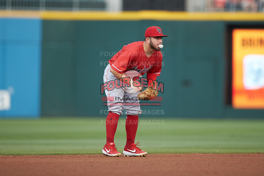Louisville Bats shortstop Alberti Chavez (29) on defense against the Charlotte Hornets at BB&T BallPark on June 22, 2019 in Charlotte, North Carolina. The Hornets defeated the Bats 7-6. (Brian Westerholt/Four Seam Images)