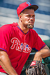 6 September 2014: Philadelphia Phillies pitcher Luis Garcia stands outside the dugout prior to a game against the Washington Nationals at Nationals Park in Washington, DC. The Nationals fell to the Phillies 3-1 in the second game of their 3-game series. Mandatory Credit: Ed Wolfstein Photo *** RAW (NEF) Image File Available ***