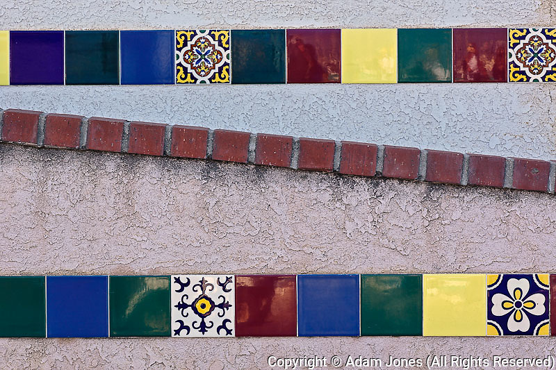 Decorative tiles along stairway, Catalina Island, California