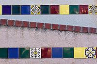 Decorative tiles along stairway, Catalina Island, California