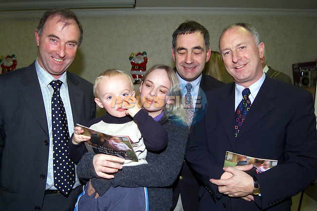 Jim Morgan FAS, Calem Everitt and Laura Beaty with Garda  and Minister Dermot Ahern at the launch of the moving on project booklet..Picture Fran Caffrey Newsfile.