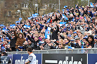 A general view of Bath Rugby supportesr in the crowd. Amlin Challenge Cup quarter-final, between Bath Rugby and CA Brive on April 6, 2014 at the Recreation Ground in Bath, England. Photo by: Patrick Khachfe / Onside Images