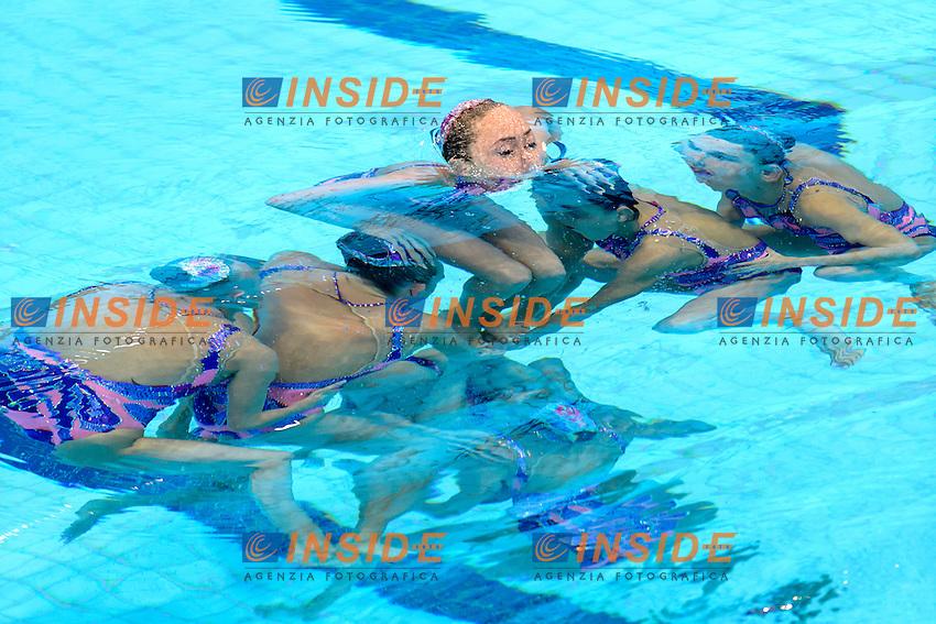 UKRAINE UKR Gold Medal <br /> ANANASOVA Lolita / VOLOSHYNA Anna<br /> IUSHKO Daria / GRECHYKHINA Olena<br /> SAVCHUK Anastasiya / SYDORENKO Kseniya<br /> SABADA Oleksandra / SADURSKA Kateryna<br /> Team Free Final <br /> London, Queen Elizabeth II Olympic Park Pool <br /> LEN 2016 European Aquatics Elite Championships <br /> Synchronized Swimming <br /> Day 05 13-05-2016<br /> Photo Andrea Staccioli/Deepbluemedia/Insidefoto